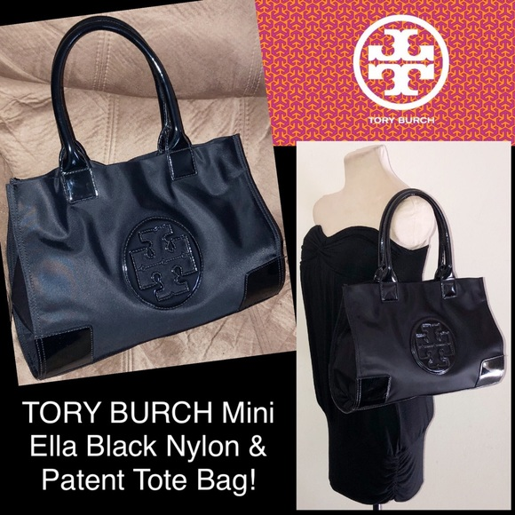 7a14bac344fe TORY BURCH Mini Ella Black Nylon   Patent Tote Bag.  M 5b350b530cb5aa53ea9384e4